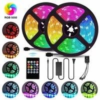 LED Strip Light 5050 RGB Flexible Ribbon Fita 300 LEDs Light Strip RGB Waterproof 10M Tape Diode DC 12V+ Remote Control +Adapter