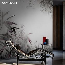 MASAR Chinese element bamboe bos custom muurschildering inkt grijs achtergrond muur papier hotel restaurant art behang bamboe