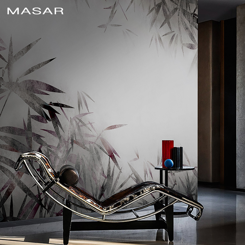 MASAR Chinese Element Bamboo Forest Custom Mural Ink Gray Background Wall Paper Hotel Restaurant Art Wallpaper Bamboo