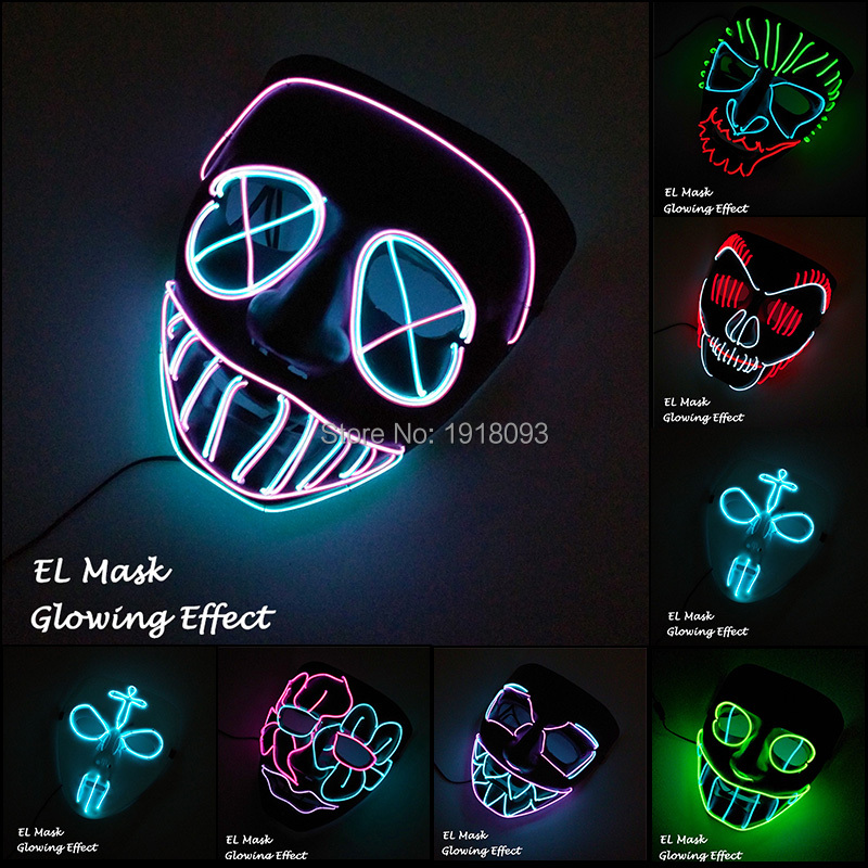 Newest EL Wire Mask 13 Style Available Freight Mask LED Strip Light Mask Decor For Novelty Lighting Party Supplies