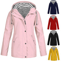 2019 Pure color fashion fabric Women jacket casual plain rain jacket coat plus size waterproof outerwear A0823