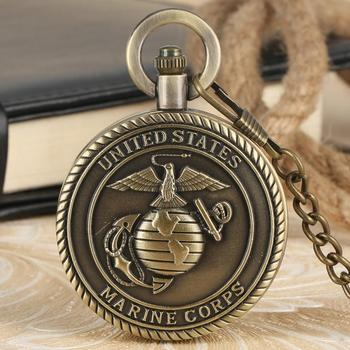 United States Marine Corps Men's Retro Bronze Quartz Pocket Watch for Men with Necklae Chain Army Gift Choice Dropshipping the united states marine corps workout rev