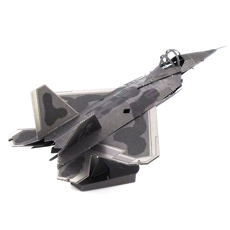 Love Spell All-Metal Stainless Steel DIY Assembled Model 3D Glue-free 3D Puzzle Model F22 Fighter Plane Color