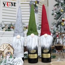 Noel şampanya şişesi kapağı giyinmek dekorasyon noel yüzü olmayan bebek festivali noel el sanatları dekorasyon aksesuarları