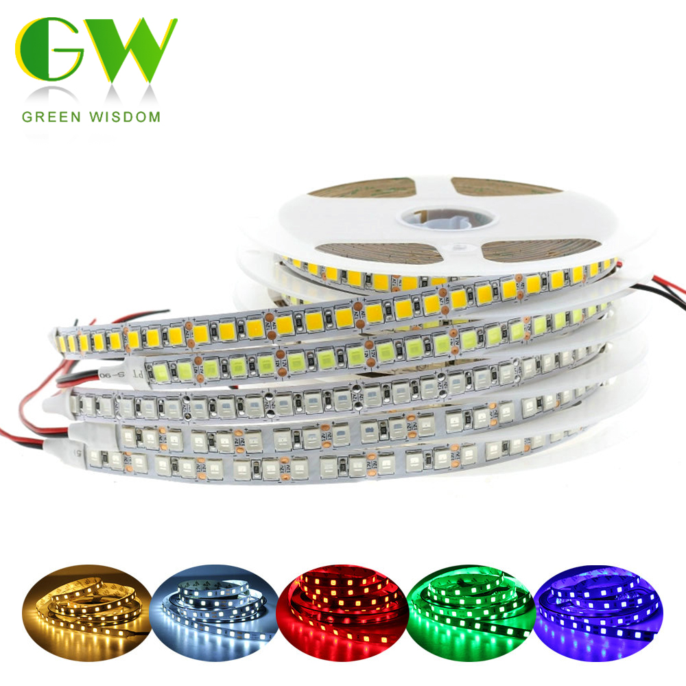 DC12V LED Strip Light 5054 Waterproof Flexible LED Ribbon 60LEDs/m 120LEDs/m Brighter Than 5050 3528 12V RGB Diode Tape 5m/lot