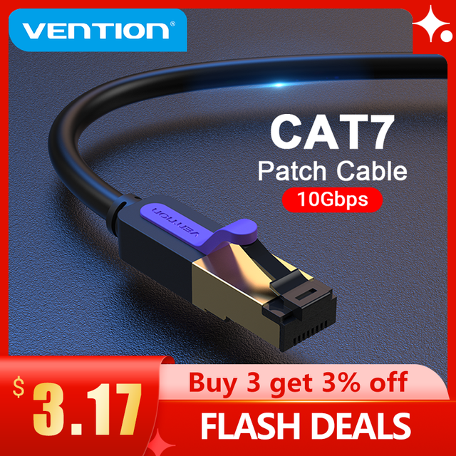 Vention Ethernet Cable RJ 45 Cat7 Lan Cable STP RJ45 Network Cable for Cat6 Compatible Patch Cord for Router Cat7 Ethernet Cable 1