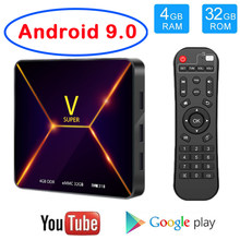 Super V Android 9.0 Smart TV Box Quad Core 4GB RAM 32GB ROM WIFI Bluetooth 4K Netflix Youtube Google Media Player Android BOX PK HK1 H96 max(China)