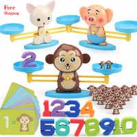 Montessori maths équilibrage échelle numéro jeu de société jouet éducatif singe cochon chien Animal Figure bébé préscolaire maths jouets