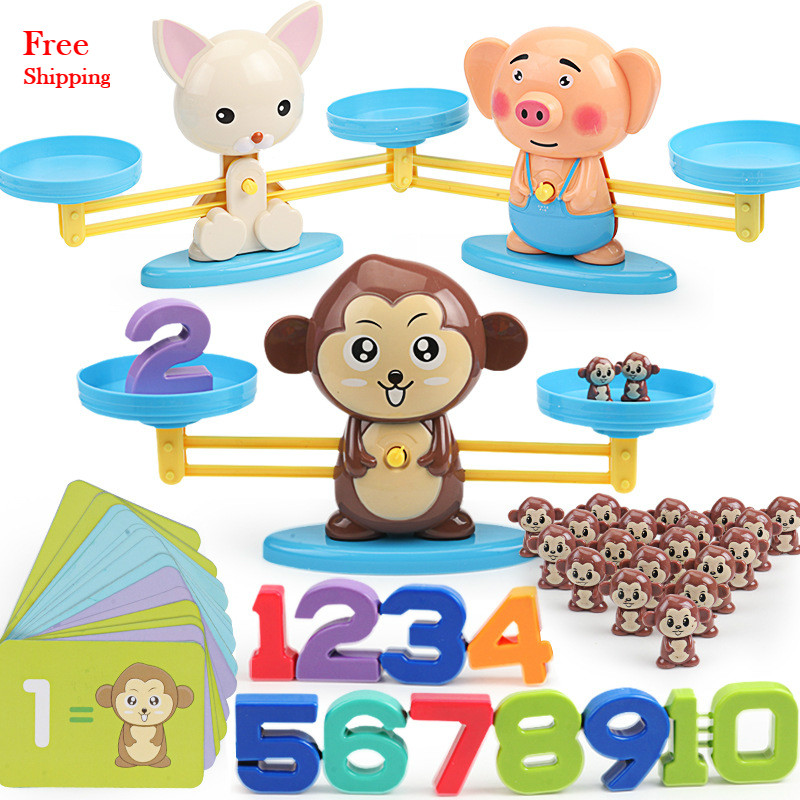 Montessori Math Balancing Scale Number Board Game Educational Toy Monkey Pig Dog Animal Figure Baby Preschool Math Toys
