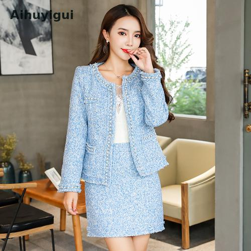 Aihuyigui Blue Pink Winter Women Wool Tweed Thick 2pcs Set Pearl Cardigan Fringed Trim Pocket Jacket Coat+sexy Mini Skirt Dr660