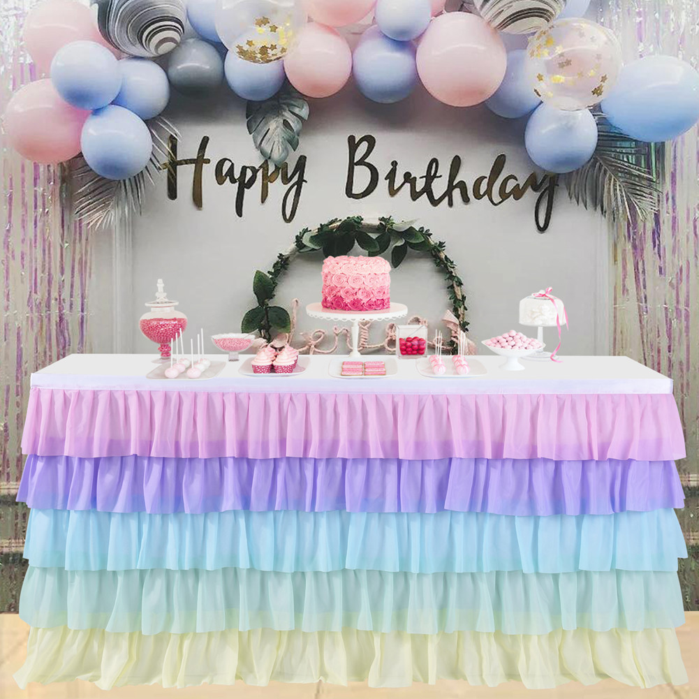 5 Layer Tulle Table Skirt Tutu Table Skirts Baby Shower Birthday Party Table Skirts For Banquet Wedding Hotel Party Decoration
