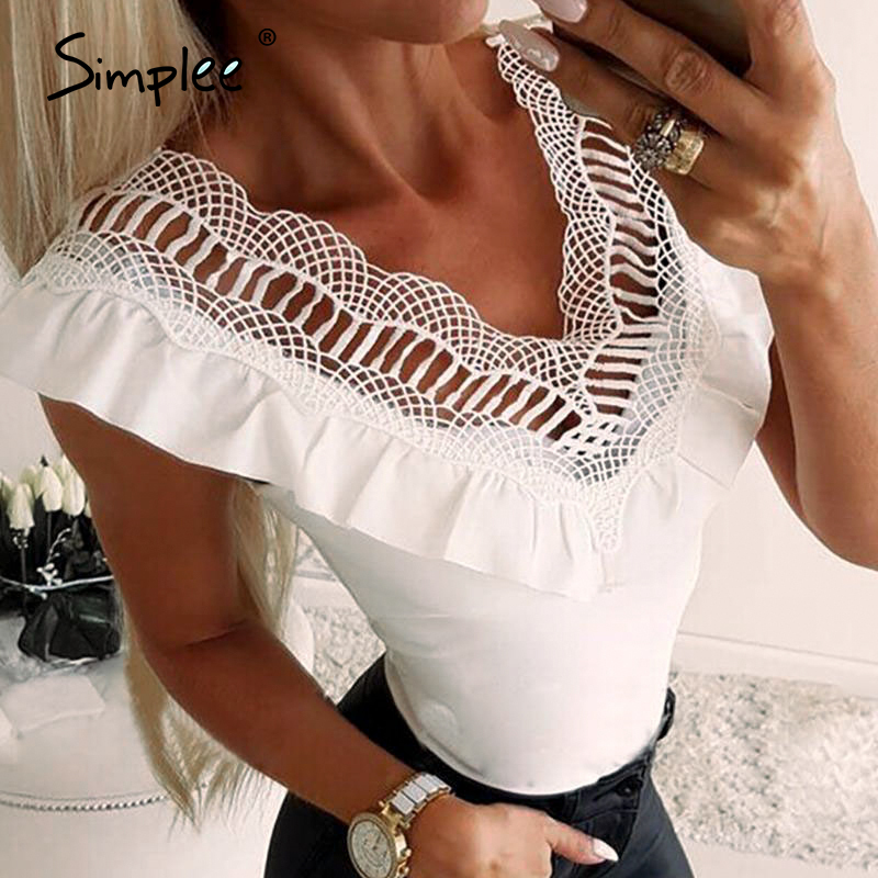 Simplee Vintage White Ruffled Embroidery Women Blouse Shirt Summer Solid Sleeveless Top Shirt Party Lace Ladies Short Tops 2020