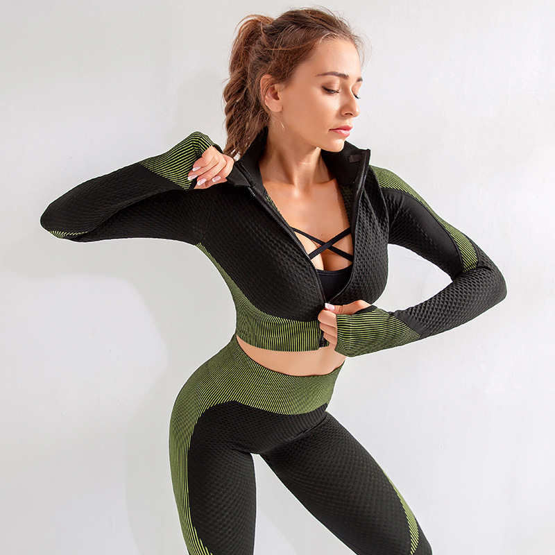 Seamless Workout Yoga Sets Female Sport Gym suit Wear Running Clothes women Fitness Sport Yoga Suit Long Sleeve yoga clothing title=