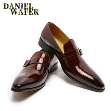 LUXURY FASHION LOAFERS FOR MEN DRESS SHOES HANDMADE MONK STRAP SLIP ON BROWN BLA