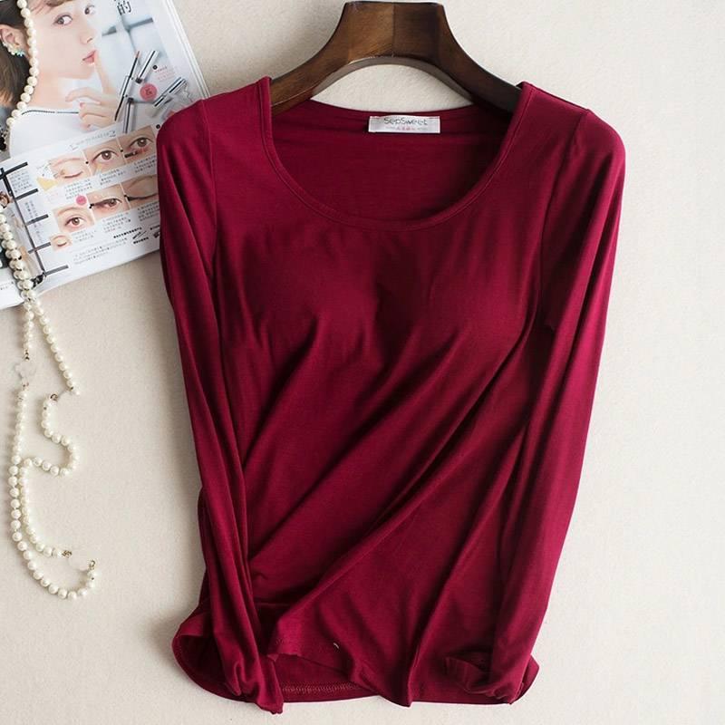 Бюстгальтер с подкладкой, базовая футболка, женский модальный длинный рукав с круглым вырезом, Однотонная футболка со встроенным бюстгальт...