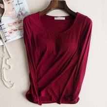 Sutiã acolchoado, camiseta básica modal para mulheres, manga comprida, gola redonda, sutiã casual, macia e respirável topos