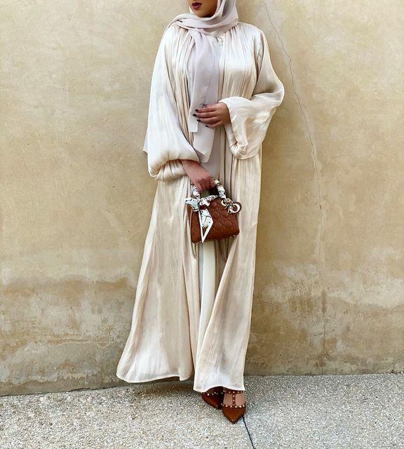 Robe Hijab Musulmane Eid Abaya dubaï, manches bulle, robes turques d'été, Abayas pour femmes, vêtements islamiques, Kimono Femme Musulmane 1