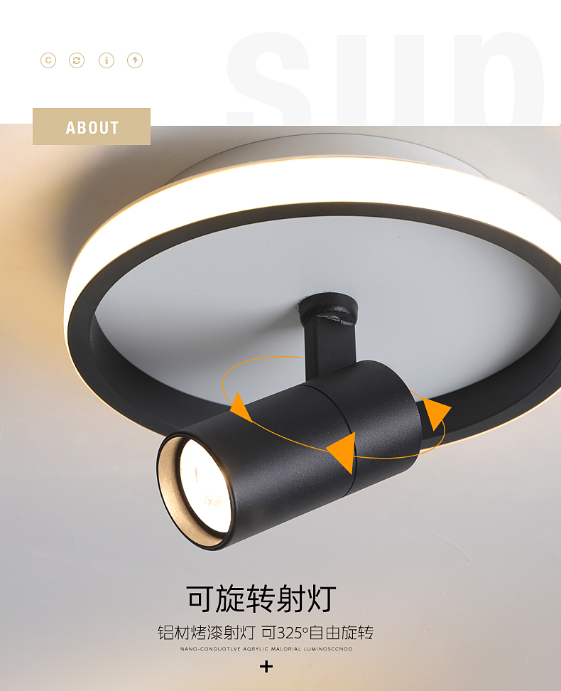 Head Move Black Modern LED Ceiling Lights Lamp For Kitchen