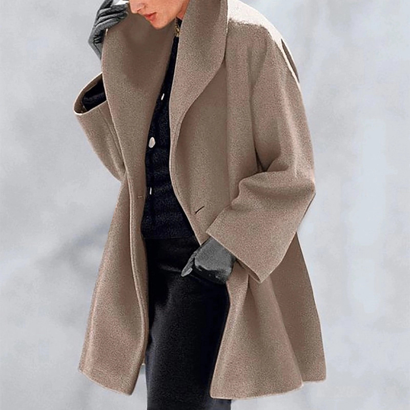Women Autumn Winter Woollen Coat Long Sleeve Turn-Down Collar Oversize Outwear Jacket Multicolor  Elegant Overcoats  Loose Plus
