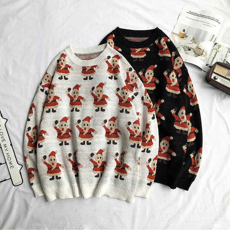 Japanese Korean men Christmas sweater long sleeve bottoming sweaters loose lazy wind handsome Santa Claus Embroidery sweaters