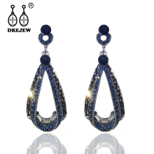 купить DREJEW Big Blue Gold Black Silver Water Drop Statement Earrings Sets 2019 925 Crystal Alloy Drop Earrings for Women Jewelry H404 онлайн