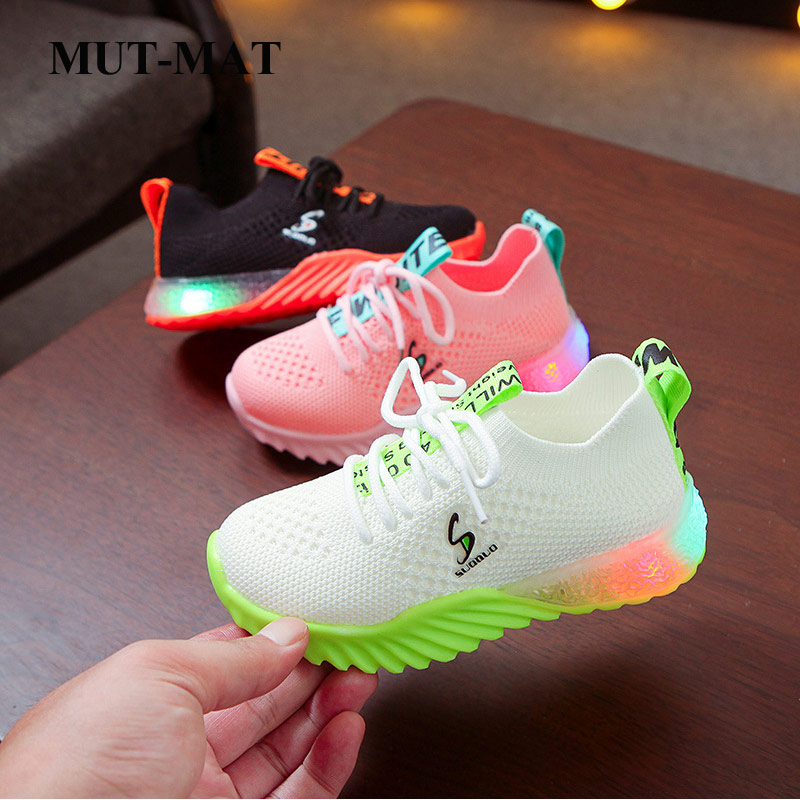 Children ShoesKids Shoes 2020 Spring New Led Light Shoes Candy Color Luminous Shoes Boys And Girls Shoes Soft Knitted Sneakers