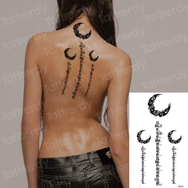 Fake Tatoo Girls Sexy Temporary Back Tattoos Mandala Letter Writing Temporary Tattoo Moon Lotus Flower Black Body Stickers