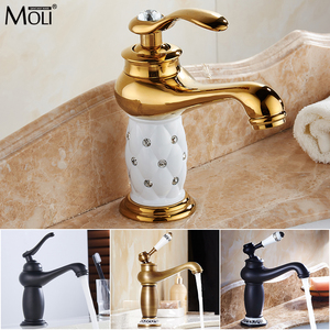 Image 1 - MOLI Bathroom Sink Faucet Gold Basin Single handle Faucets Diamond Water Mixer Crane Hot Cold Chrome Bath Brass Mixer Tap ML201