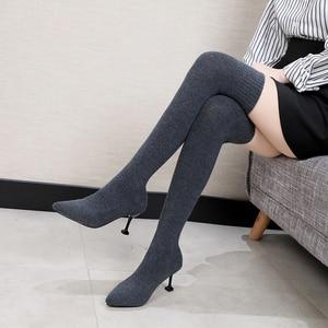Image 2 - Sexy Vrouwen Over De Knie Laarzen Sok Warm Hoge Hak Schoenen Stretch Breien Dunne Hak Fashion 2019 Winter Vrouwen Wees teen Laarzen