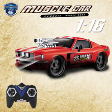1:16 RC Car Retro Ford Mustang Model 4 channels Remote Control Car 27Mhz With Music Lights Christmas Gift Toys For Kids