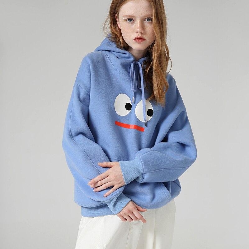 Toyouth Streetwear Cartoon Printed Hoodies Women Winter Long Sleeve Hooded Sweatshirts