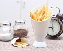 Batatas fritas copo tigela de salada simples prático casa cozinha batata ferramenta utensílios de mesa criativo 2 em 1 francês fritar cone com copo de mergulho