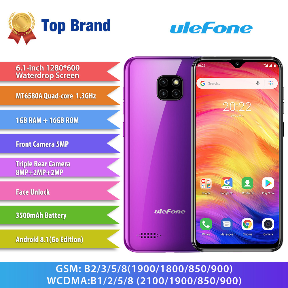 Ulefone Note 7 Smartphone 3500mAh 19 9 Quad Core 6 1inch Waterdrop Screen 16GB ROM Mobile Ulefone Note 7 Smartphone 3500mAh 19:9 Quad Core 6.1inch  Waterdrop Screen 16GB ROM Mobile phone WCDMA Cellphone  Android9.0