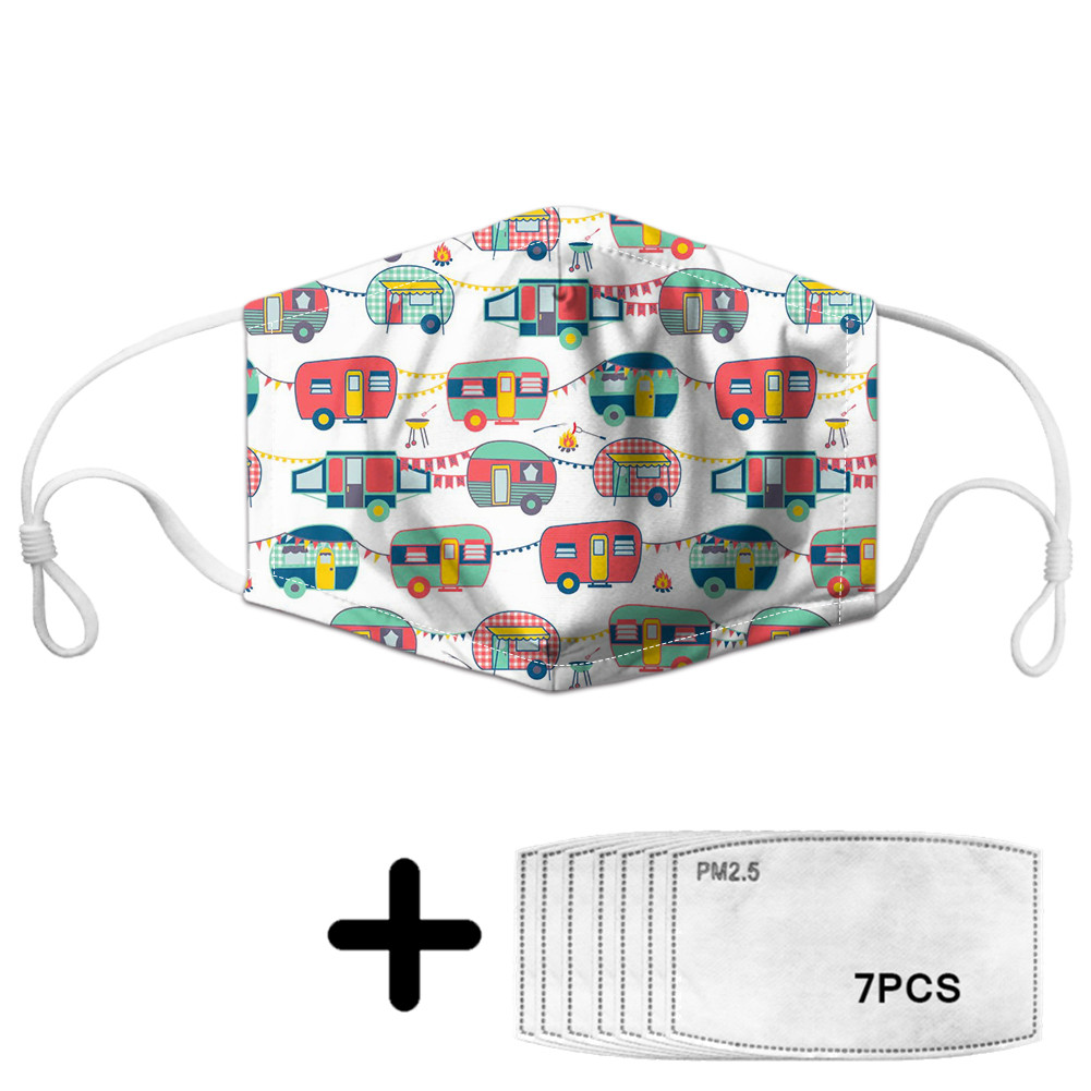 Cartoon Happy Camper Print Women Men Face Mask With 7Filters PM2.5 Unisex Mouth Mask Elastic Breathable Anti-dust Mask