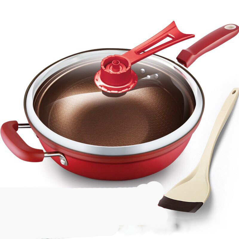 Kitchen Pot 32cm Iron Frying Pan Heat preserve Vacuum Pot Boiling Cease fire Health Preservation Pan Cooking Wok Pan with Uprigh
