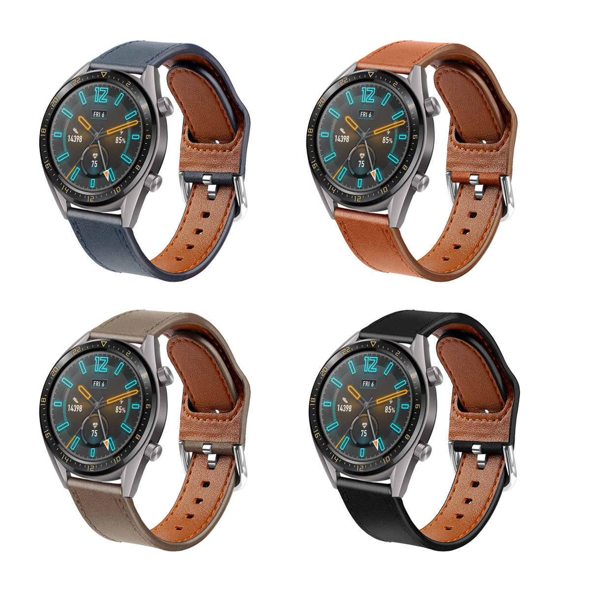 Compatible With Huawei GT2 46mm Leather Watch Straps Replacement Watchbands Genuine Leather Watch Bands For 22mm Watch 73001