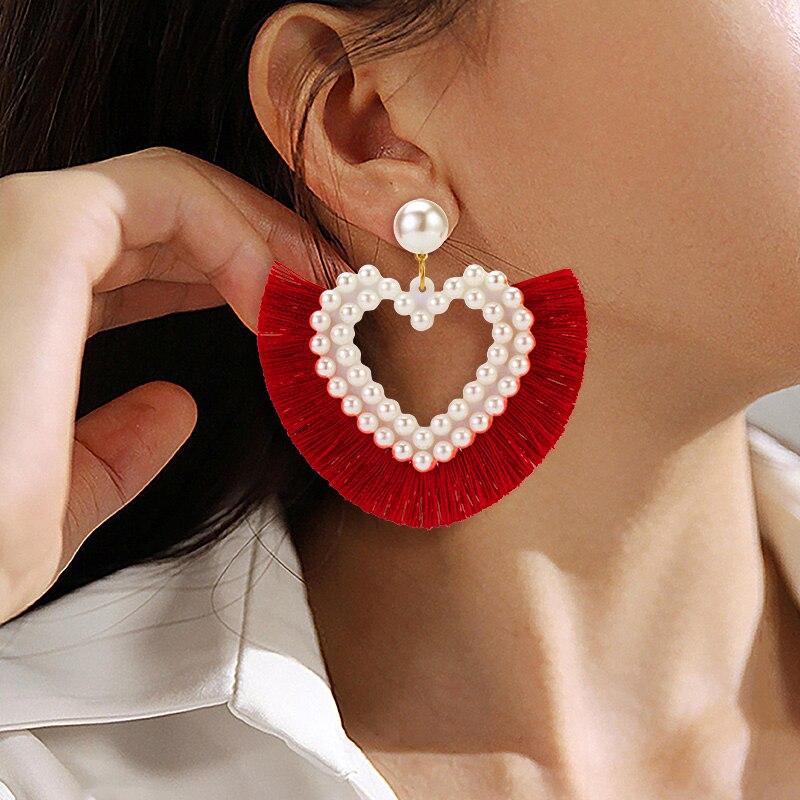 ZWC 2020 Fashion Bohemia Statement Tassel Drop Earrings For Women Wedding Party Korean Love Pearl Earring Oorbellen Jewellery