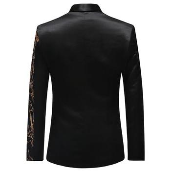 PYJTRL Tide Mens Gold Sequins Slim Fit Black Balzer Hip Hop Stage Singers Prom Dress Suit Jacket Party Jacket Men 1