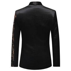 Image 2 - PYJTRL Tide Mens Gold Sequins Slim Fit Black Balzer Hip Hop Stage Singers Prom Dress Suit Jacket Party Jacket Men