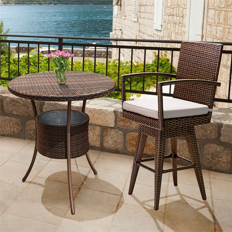 Outdoor Wicker Swivel Bar Stool Chair Weat Seat Cushion Garden Chairs HW57234