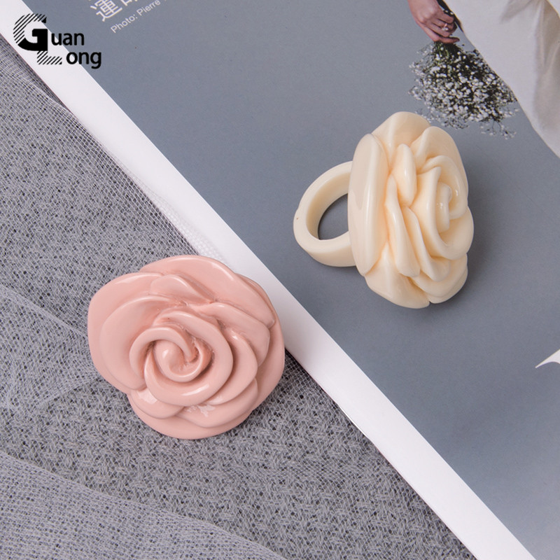 Guanlong Acrylic Rose Flower Engagement Women's Rings Fashion Jewelry Resin Vintage Wedding Ring for Girls Female Punk Rings 6