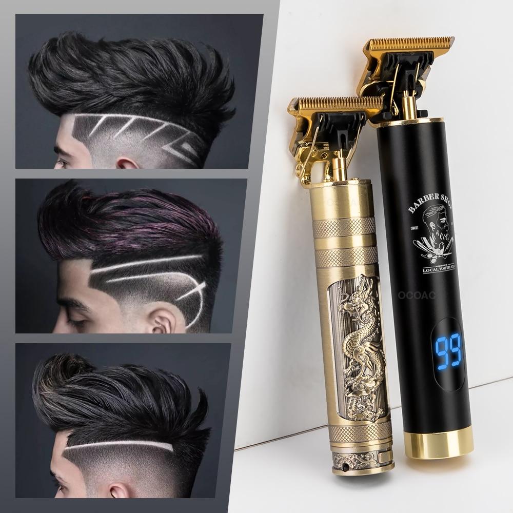 Tondeuse électrique sans fil Rechargeable pour hommes, rasoir professionnel pour barbe et coupe de cheveux à 0mm