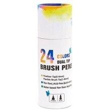 24-Цвет сапоги цилиндрической формы ручка, живопись на холсте маркер для белой доски, вода, Цвет кисти, каллиграфии эскиз школьные принадлежности