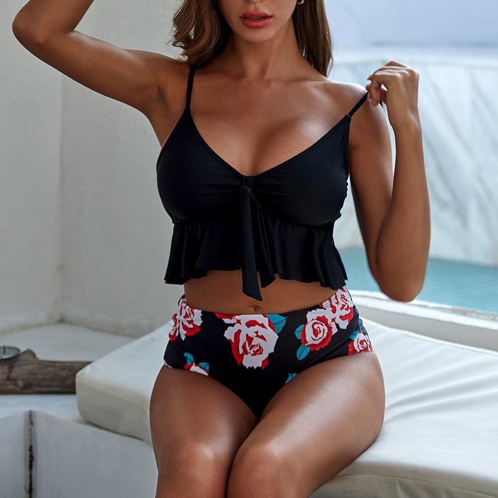 Flower Print High Waist Flouncing Bikini Set