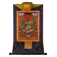 Tibetano hecho a mano personalizado Verde Tara oro estampado pequeño dragón decorar el templo colgante Tangka