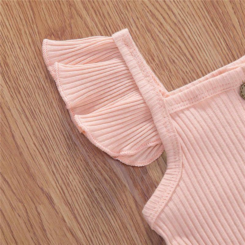 Yenidoğan bebek kız pamuklu giysiler seti tatlı yaz çocuk kız nervürlü örme düğme Romper yüksek bel kemeri leopar baskı şort