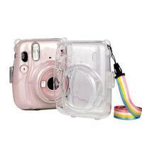 Estuche portátil para cámara a prueba de polvo con correa de hombro, protector ligero transparente, práctico para Fujifilm Instax Mini 11