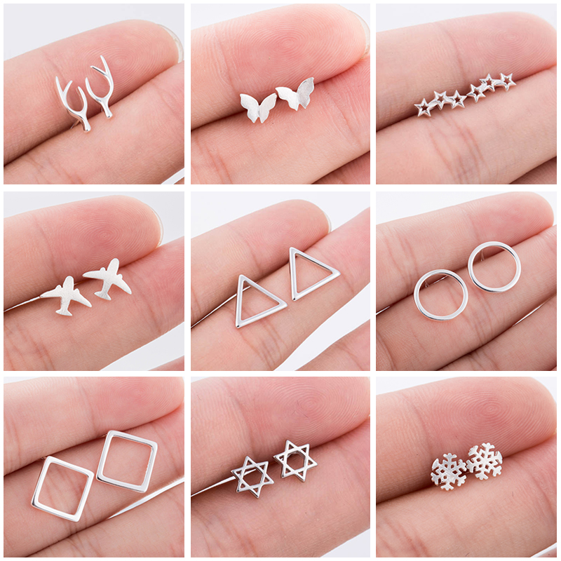 925 Sterling Silver Earrings For Women Circle Square Triangle Butterfly Airplane Ear Studs For Kids Daughter Christmas Gift image
