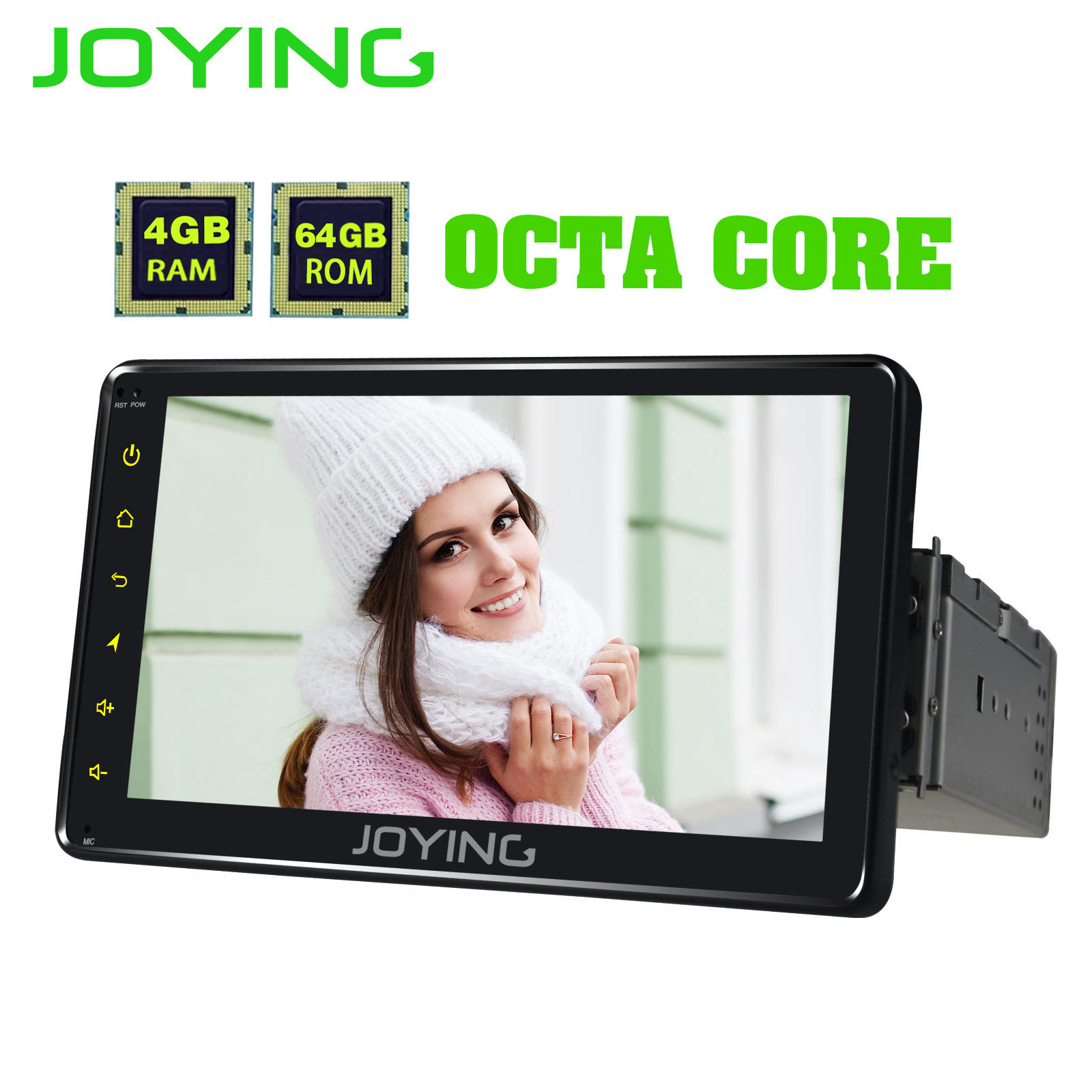 JOYING 8 CORE 4G RAM Android 8.1 car radio 1 din 7/8/9/10.1 Inch car stereo Screen 64G ROM GPS navigation head unit WIFI Carplay image