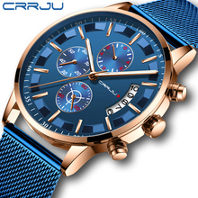 2019 Mens Stijlvolle Horloges Crrju Merk Blue Militaire Waterdichte Sport Horloge Mannen Casual Mesh Band Quartz Klok Reloj Hombre